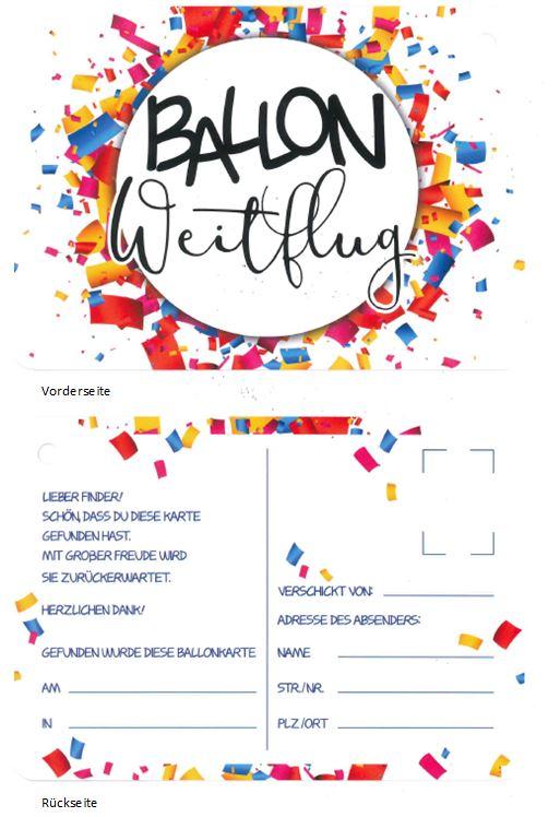 Ballonflugkarte Ballon Weitflug