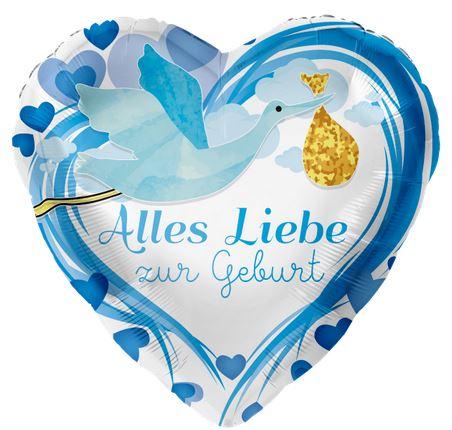 Folienaballon, Alles Liebe zur Geburt, blau