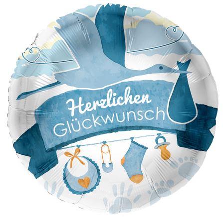 Folienballon, Hz. Glückwunsch, blau