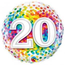 Folienballon Konfetti 18, 20, 30, 40, 50, 70, 80