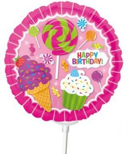 Miniballon auf Stab Candy