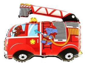 Folienballon Feuerwehrauto Tiere