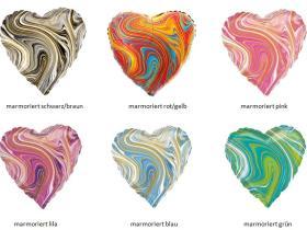 Folienballon Herz marmoriert