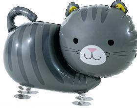 Folienballon Katze grau Airwalker