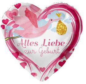 Folienballon, Alles Liebe zur Geburt, rosa