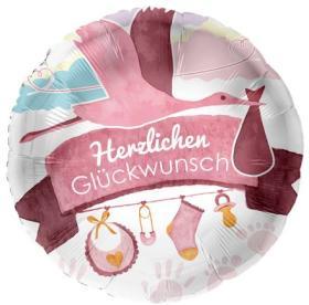 Folienballon, Hz. Glückwunsch, rosa