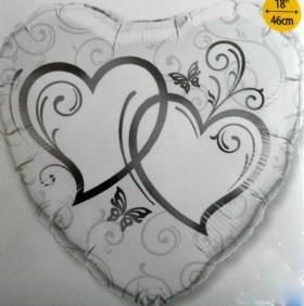 Folienballon Silberne Herzen