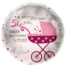 Folienballon, Kinderwagen rosa