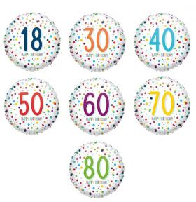 Folienballon, HB Konfetti, 18, 30, 40, 50, 60, 70, 80