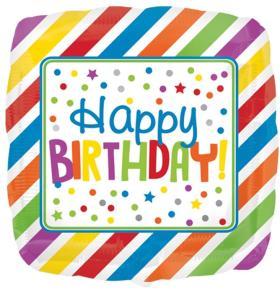 Folienballon Birthday Streifen