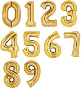 Folienzahlen, XXL, gold 0 - 9