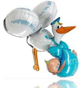 3D Folienballon Storch It´s a boy