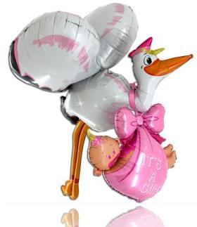 3D Folienballon Storch It´s a girl