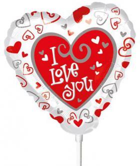 Miniballon auf Stab I love you
