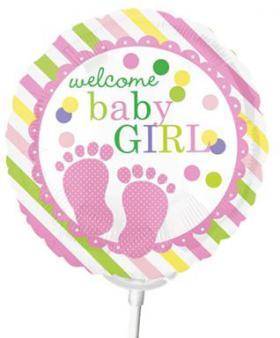 Miniballon auf Stab Geburt Mädchen