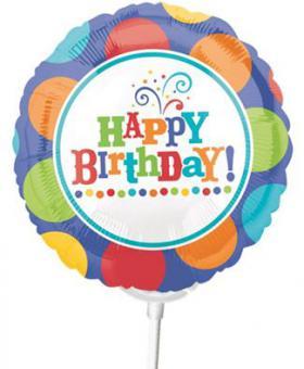 Miniballon auf Stab Happy Birthday