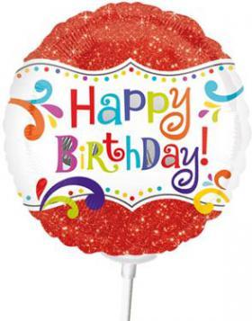Miniballon auf Stab HB rot