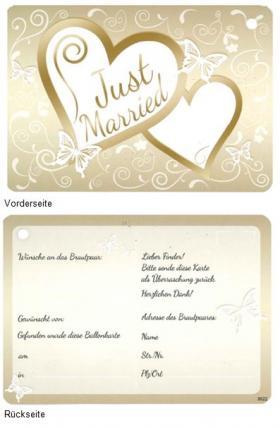 Ballonflugkarte Just married Gold