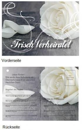 Ballonflugkarte Frisch Verheiratet Weiße Rose ultraleicht