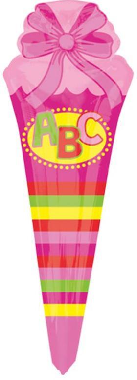Folienballon Schultüte rosa